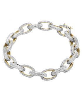 Men's 10K Yellow Gold Diamond 11MM Interlocking Link Bracelet 6.4 CT 8""