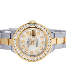 Ladies Rolex Datejust 26MM 18K/ Steel MOP Dial Diamond Watch 3.0 Ct