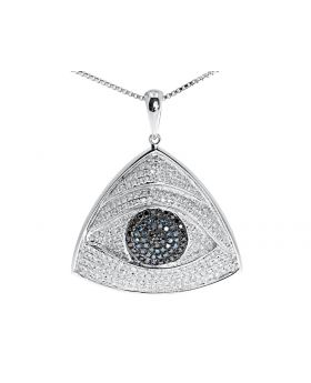 10k White Gold Triangular Evil Eye Pendant with Blue White Diamonds (1.20 ct)