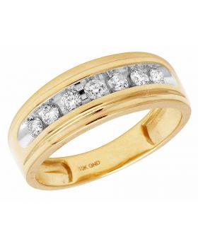 10K Yellow Gold Real Diamonds Men's One Row Wedding Band Ring 0.50ct
