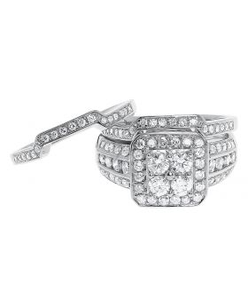 14k White Gold Round Diamond 3 Pc Wedding Ring Set (1.51 ct)