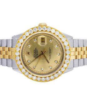 Rolex Datejust 16013 18K/ Steel Two Tone 36MM Diamond Watch 5.25 Ct
