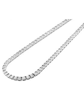 Mens 10K White Gold 1 Row Tennis Choker Real Diamond Chain Necklace 10.15CT 22""