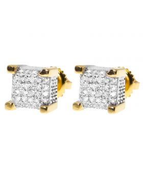 7mm Cube Earrings in Yellow Gold Finish (0.33 ct)