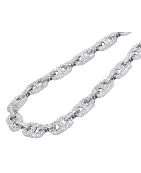 """White Gold Mariner Link Baguette Diamond Necklace 26.75CT 14MM 23"""""""