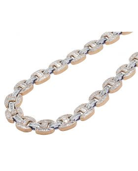 10K Two Tone Rose/White Real Diamond Baguette Gucci Mariner Chain Necklace 15MM 20""