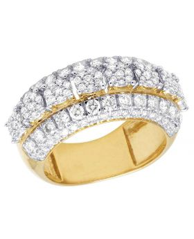 10K Yellow Gold Real Diamond Cluster Wedding Band Ring 2.60 CT 11MM