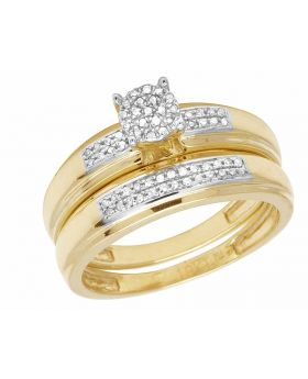 Ladies 10K Yellow Gold Genuine Diamond Bridal Wedding Ring Set 1/4 Ct 5MM