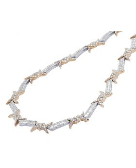 "Two Tone Rose White Gold Barbed Wire Thorn Baguette Diamond Chain 20"" 19.5 CT"