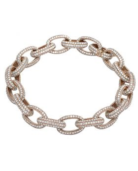 Men's 14K Rose Gold Diamond 11MM Interlocking Link Bracelet 14.65 CT 8""