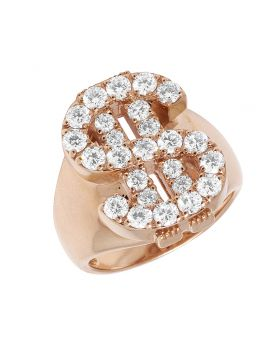 Mens 14K Rose Gold Dollar Sign Diamond Prong Pinky Ring 23MM 2.52CT