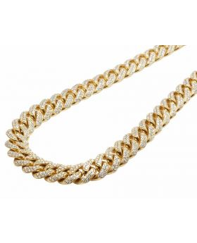 10K Yellow Gold Real Diamond Miami Cuban Link Chain 23ct 11MM