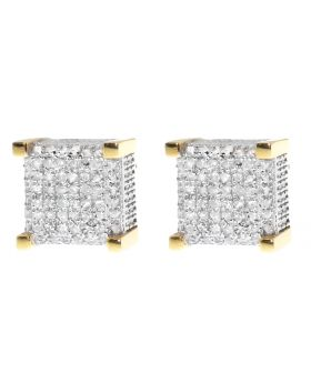9mm Cube Earrings in Yellow Gold Finish (0.50 ct)