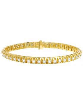 Men's 14K Yellow Gold Diamond 7MM Solitaire Tennis Bracelet 7 CT 8""