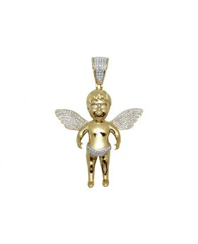 10k Yellow Gold Baby Angel Genuine Diamond Pendant Charm 0.35 Ct 1.9""