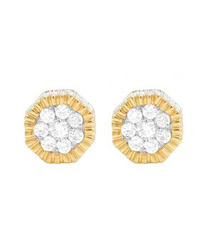 10K Yellow Gold Diamond 3D Cluster Stud Earring 0.50 Ct 7MM