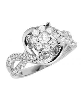 Ladies 10K White Gold Infinity Cluster Engagement Ring 1.0ct