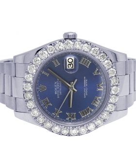 Rolex Datejust II 41MM 116300 Blue Dial Diamond Watch 6.0 Ct