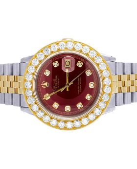 Rolex Datejust 16013 18K/ Steel Two Tone 36MM Red Dial Diamond Watch 6.75 Ct