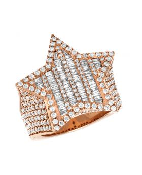 Men's 14K Rose Gold Real Baguette Diamond Star Pinky Ring 5.5 CT
