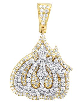 "10K Two Tone Yellow Gold Unisex Real Diamond Allah Pendant  1.5"" 2.5CT"