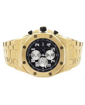 Men's Jewelry Unlimited Yellow Gold Solid Steel Black Dial AP Watch