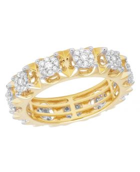 14K Yellow Gold Real Diamond Cluster Prong Eternity Wedding Band Ring 1 2/5 CT 7MM