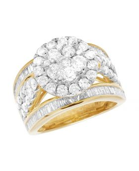 10K Yellow Gold Diamond Cluster Baguette Engagement Wedding Ring 3 Ct 13MM