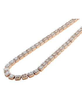 14K Rose Gold Square Halo Baguette Chain 8 MM 16.5 CT
