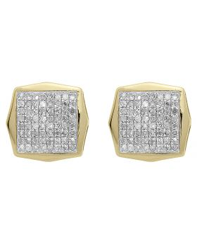 10mm Pave Diamond Octagon Studs in Yellow Gold (0.50 ct)