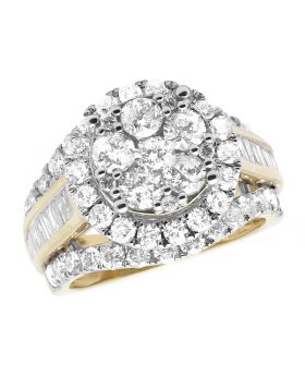 Ladies 10K Yellow Gold Real Diamonds Engagement Ring 3ct