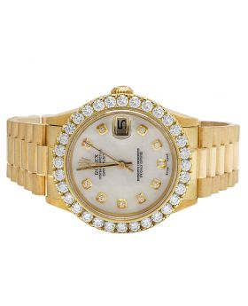 Rolex 18K Yellow Gold Midsize 31MM 68278 Datejust Diamond Watch 3.5 Ct