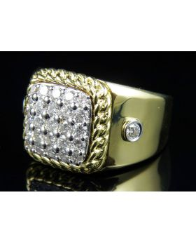 10K Yellow Gold Cuban Border Square Pinky Ring 1.55ct