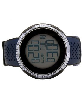 Mens Gucci XXL 49MM Digital Blue Rubber Diamond Watch YA114105 3.0 Ct