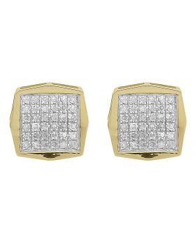 8mm Pave Diamond Octagon Studs in Yellow Gold (0.16 ct)