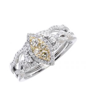 Marquise Center Bridal Set with Yellow Diamonds (0.51 ct)