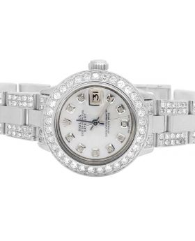 Ladies Rolex Datejust Oyster 26MM Silver Dial Diamond Watch (6.5 Ct)