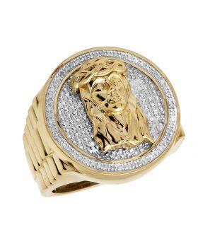 Men's Yellow Gold Sterling Silver Jesus Real Diamond Pinky Ring .33ct