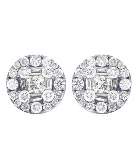 14K White Gold Real Diamond Baguette Round Studs Earrings 1.5 CT 10MM