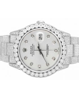 Rolex Datejust Iced Out 36MM Quickset Silver Dial Diamond Watch (15 Ct)