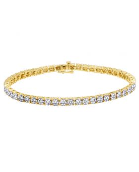 Real 10K Yellow Gold Diamond 5MM Cluster Bracelet 5 CT 8.5""