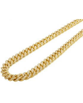 10K Yellow Gold Mens Ladies Real Diamond Chain Cuban Choker Necklace 9CT