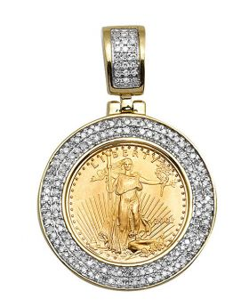 10k Yellow Gold 1/10 Oz Lady Liberty Coin Real Diamond Charm Pendant 0.6Ct