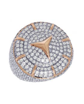 10K Rose Gold Real Diamond Mercedes Pinky Ring 6.5 CT 26MM