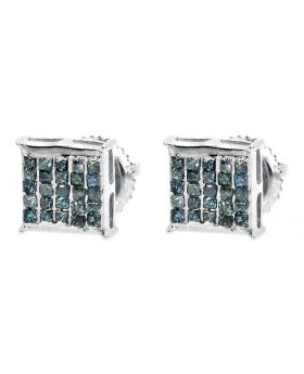 14k White Gold Earrings with Blue Princess Diamonds (0.52 ct)