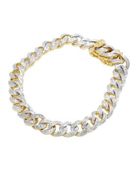 10K Yellow Gold Iced Out Miami Cuban Bracelet