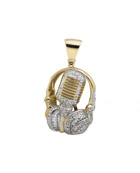 "10K Yellow Gold DJ headphone and Mic 1.5"" Diamond Pendant 3/4CT"