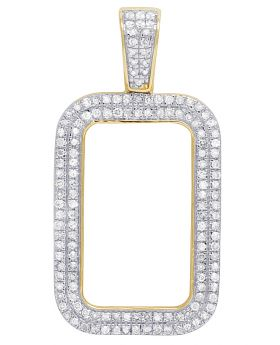 10K Yellow Gold 2 Row Lady Fortuna Bar Frame 2.5 gram Pendant .50 CT