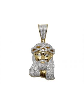 10K Yellow Gold Jesus Face Diamond Pendant Charm 0.85ct 1.5""