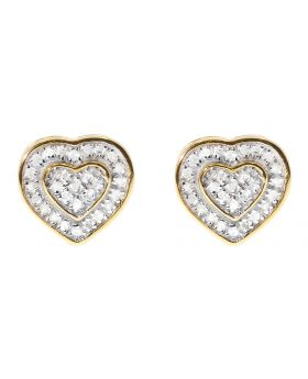 10mm Dual Heart Earrings in Sterling Silver & Yellow Gold Tone (0.30ct)